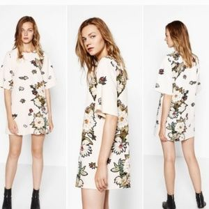 Zara collection floral shift dress size XS